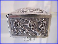Antique Chinese export silver rectangular box Dragoon & bamboo 73g 2,57oz