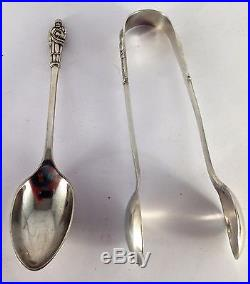 Antique Chinese export silver teaspoon set & sugar tongs, boxed by C. J. & Co