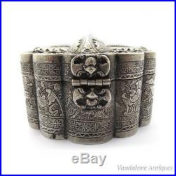 Antique Chinese export solid silver Qingming moth box tomb sweeping bats signed