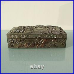 Antique Chinese floral storage trinket box