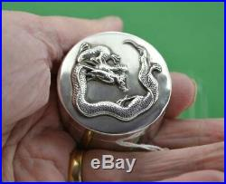 Antique Chinese late 19 c Export Silver Dragon lidded box Wang Hing 90 marks