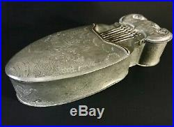 Antique Chinese pewter pocket incense box in the form of a musical instrument