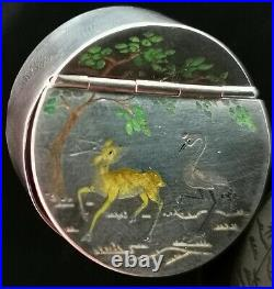 Antique Chinese silver snuff box, inlaid, crane and deer