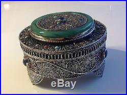 Antique Chinese silver tea box Jade Coral Turquoise 274 gram 19TH (m1229)