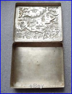 Antique Chinese sterling silver cigarette box embossed landscape