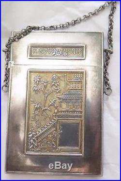 Antique Coin Silver Chinese Export Calling Card Case Chatelaine Orig Fitted Box