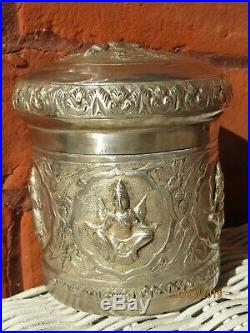 Antique Detailed Sterling silver Chinese Asian Repousse Silver Box