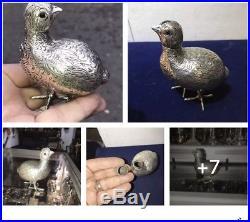 Antique Dutch Solid Silver Snuff Box Bottle As Chinese Quail Bird & 2 Ruby Eyes