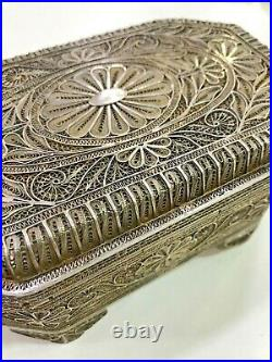 Antique Find Chinese Japanese Solid Silver Export Filigree Pill Box Snuff Box