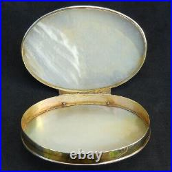 Antique GEORGIAN Sterling Silver Gilt Mother-of-Pearl SNUFF Chinese Export c1820
