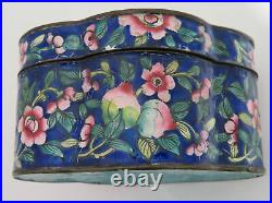 Antique Important Chinese or Japanese Enamel And Copper Box & Silver Spoon c1850