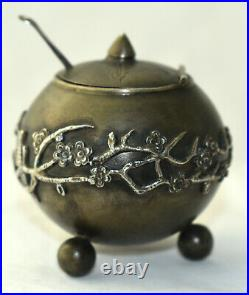 Antique Japanese Chinese Mixed Metal Opium Censor Snuff Box Silver Overlay Sgnd