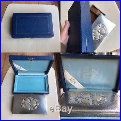 Antique Japanese Chinese Solid Silver Hattori Cigarette Box In Original Case