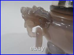 Antique Koro Foo Dog Box Chinese Hardstone & German 800 Silver Qing