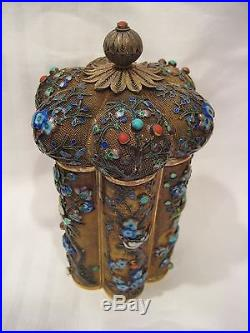 Antique Large Chinese Enameled Sterling Silver Jeweled Tea Caddy Box