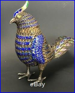 Antique Large Chinese Export Silver Enamel Bird Box