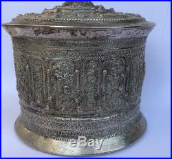 Antique Old Chinese Tibetan THAI CAMBODIAN BURMESE Silver Potpourri Box 280 Gram