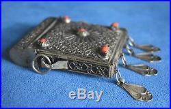 Antique / Old Vintage Chinese Tibetan Ghau Gau Orange Bead Silver Prayer Box