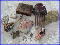 Antique Oriental Chinese Silver Cloisonne Faux Tortoiseshell Box Doll Thimble