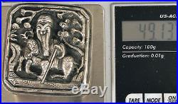Antique Ornate Chinese Sterling Silver Opium Box Signed Buddha China Man On Deer