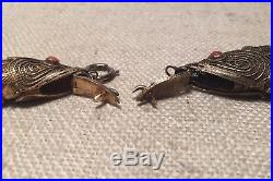 Antique Pair Chinese Sterling Silver Filigree Fish Box Coral Pendants