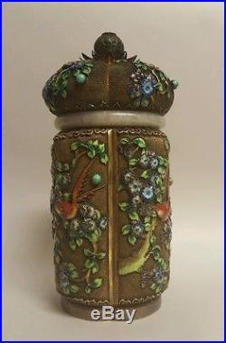 Antique Qing Chinese export jade gold gilt sterling silver enamel tea caddy box