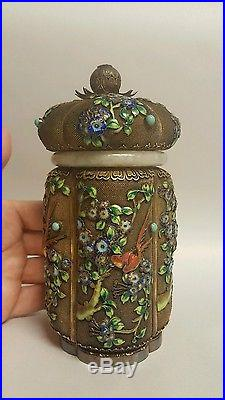 Antique Qing Chinese Export Jade Gold Gilt Sterling Silver