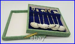 Antique Rare Set Of 6 Chinese Export Solid Silver 950 Spoons Box