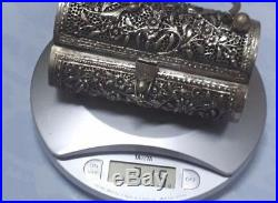 Antique Repousse Chinese Silver Jewelley Box Basket Casket Floral Scroll Covered