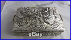 Antique STERLING SILVER CHINESE SILVER dragon box 21x14 x7.5cm WAH HING MAKER