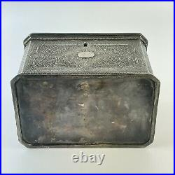 Antique Silver Plated Probably Chinese Twin Compartment Ornate Tea Caddy 15.5cm