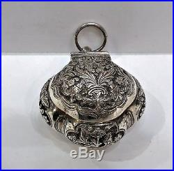Antique Silver Tobacco Box (chelpa), Flora, Chinese Straits, Malaysia, 19th C
