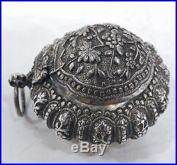 Antique Silver Tobacco Box (chelpa), Ribbed, Chinese Straits, Malaysia, 19th C