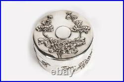 Antique Solid Silver Chinese Circular Box with Blossom Motifs c. 1890