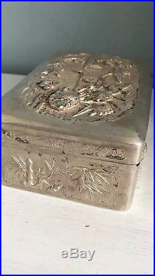 Antique Solid Silver Rare Chinese Very Large Art Box 465 Grams