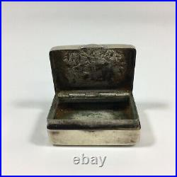 Antique Solid Silver Tested Snuff Box Indistinct Marks Possibly Chinese