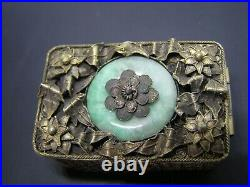 Antique Sterling Gilt Chinese Box Natural with Jade/Jadeite Mounted at Top