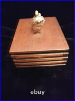 Antique/Vintage Asian Carved Silver Foo Dog Atop Carved Wooden Trinket Box