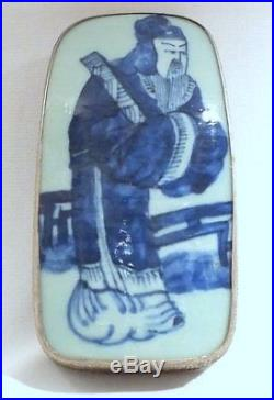 Antique Vintage Chinese Porcelain Shard Silver Box