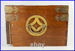 Antique Vintage Chinese Rosewood Hardwood Jewelry Box Silver Chest Hong Kong