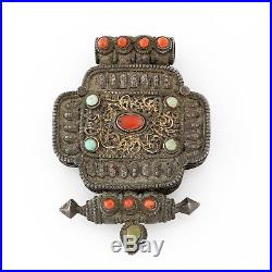 Antique Vintage Deco Sterling Silver Chinese Tibetan Coral Prayer Box Pendant