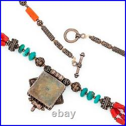 Antique Vintage Deco Sterling Silver Chinese Turquoise Prayer Box Necklace 55.6g