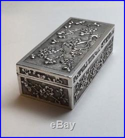 Antique Wang Hing Chinese Silver Hinged Box Prunus Blossom Motif
