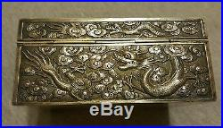 Antique chinese export silver box luen-wo