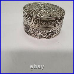 Antique chinese export silver box with animals