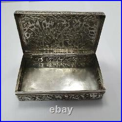 Antique chinese export silver box with dragon #pip
