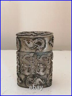 Antique chinese silver over copper hand tooled dragon pill box/box