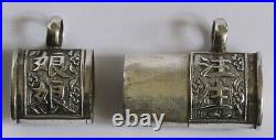 Antique chinese silver two part belt pill box / case with chinese characters