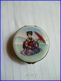 Antique french sterlig silver enamel chinese pill box