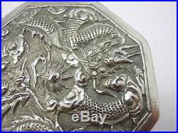 Antique japanese or chinese export silver box with dragon & birds